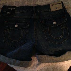True Religion blue jean shorts.